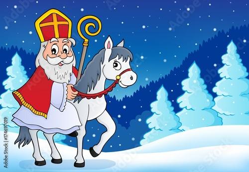 Deurstickers Voor kinderen Sinterklaas on horse theme image 6