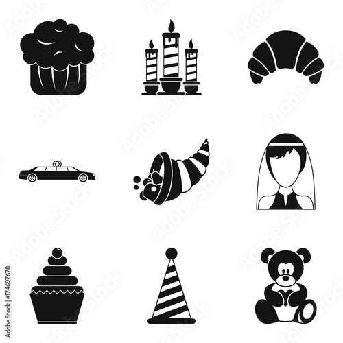 Romantic dinner icons set, simple style