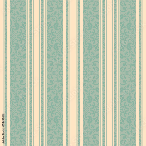 Striped background . Vector line art seamless border for design template. Decorative element for design in Eastern style. Vintage pattern for invitations, greeting cards, wallpaper, linoleum, textile. - 174698016