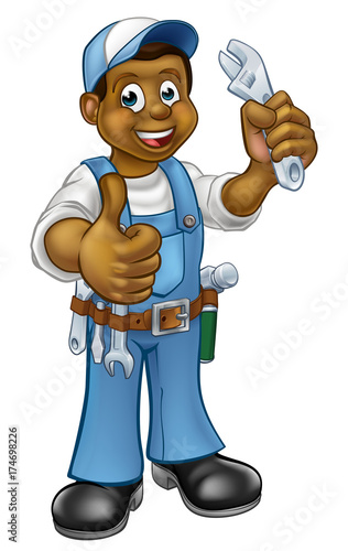 Black Mechanic or Plumber Handyman
