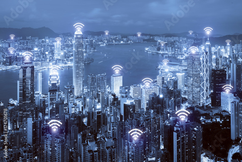 Wifi icon and Hong Kong city with wireless network connection. Hong Kong smart city and wireless communication network, abstract image visual, internet of things. - 174701678