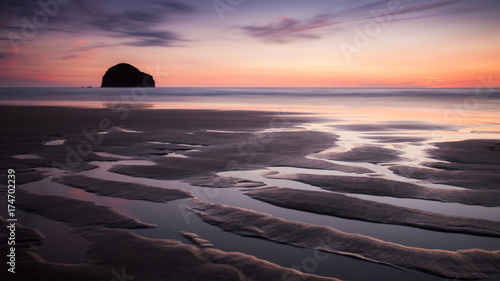 Foto op Canvas Lavendel Sunset at Trebarwith Strand, Cornwall