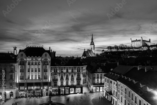 Aerial view of Bratislava, Slovakia at night. Black and white Poster