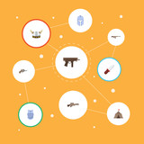 Flat Icons Warrior, Revolver, Gun And Other Vector Elements. Set Of  Flat Icons Symbols Also Includes Pistol, Body, Knife Objects. - 174711020