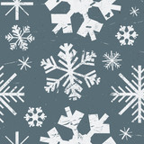 Vector seamless pattern with different graphic showflakes. Abstract winter background. White grunge texture snow on blue background.