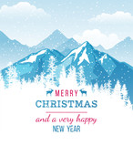 Christmas and New Year card with landscape - 174713466