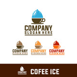 house coffee,ice, deer abstract logo isolated