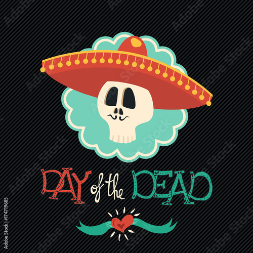Day of the dead mexican mariachi hat sugar skull Poster