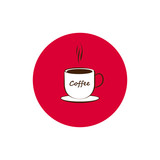 Round icon of coffee cup.