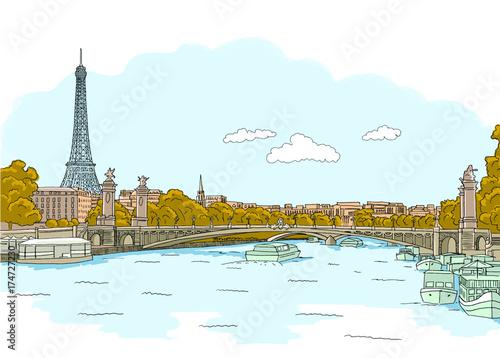 Foto op Canvas Lichtblauw France Paris hand drawn vector illustration