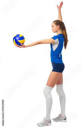 Woman voleyball player isolated