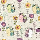 vector art seamless pattern with cartoon horse.