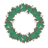 Leaves autumn frame with green maple leaves. Wreath - 174731221