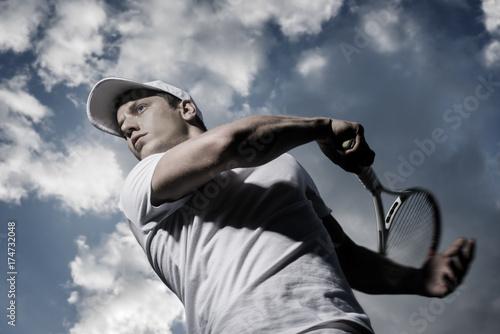 Fotobehang Tennis male tennis player in action