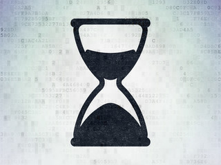 Time concept: Hourglass on Digital Data Paper background