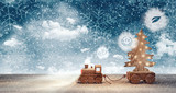 Toy train arriving with Christmas tree at snowy winter night 3D Rendering - 174736881