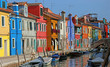 very colorful houses on the island of Burano in Venice in northe