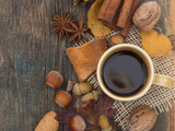 cup of coffee in autumn arrangement - 174745019