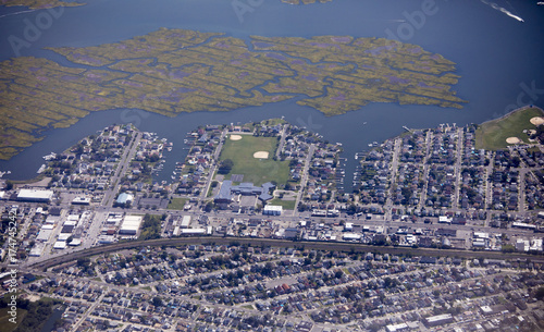 Plakat Aerial view of the Island Park neighborhood of Long Island, New York