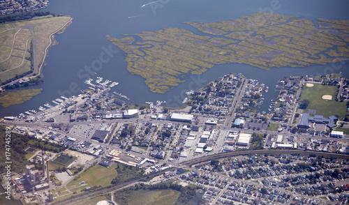 Aerial view of Island Park neighborhood of Long Island, New York,