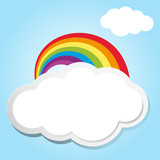 Rainbow and clouds in blue sky - 174754849