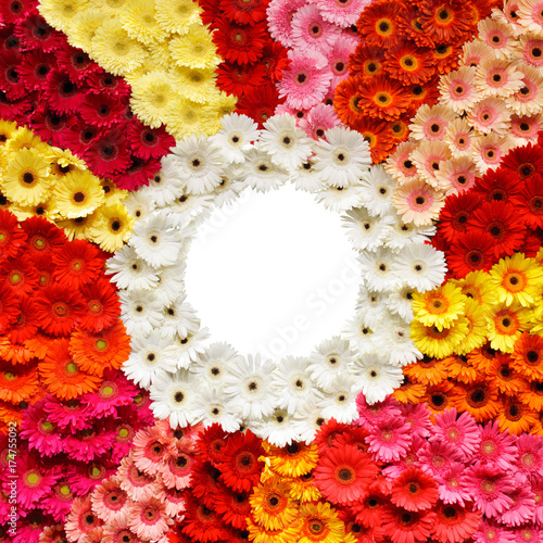 Aluminium Gerbera Many gerber flowers greeting card with wedding, round copy space