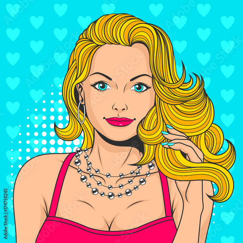 Fotobehang Pop Art ПечатьSexy beautiful woman, vector illustration, colorful background in style of pop art retro comics.