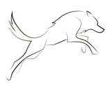 Running black line wolf on white background. Hand drawing vector graphic dog.