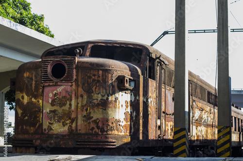 Foto op Plexiglas New York TAXI Old Train 02