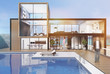 Large house with a swimming pool, man, toned