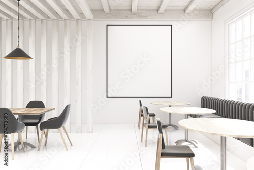 White wooden cafe, poster