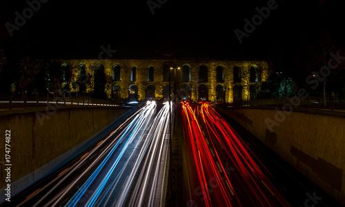 Foto op Aluminium Nacht snelweg Aqueduct long exposure Istanbul