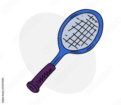 Tennis racket cartoon hand drawn image. Original colorful artwork, comic childish style drawing.