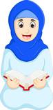 beauty islamic woman cartoon reading book