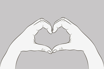 Hands in heart shape. Gesture of love sign. Illustration in sketch style. Vector.