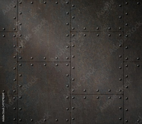 Plakat dark rusty metal armour 3d illustration