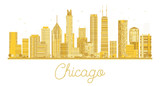 Chicago golden silhouette isolated on white background.