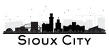 Sioux City skyline black and white silhouette. - 174794249