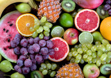 Fruits background. Healthy eating concept. Top view.