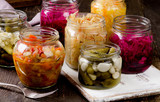 Fermented vegetables in jars - 174798029