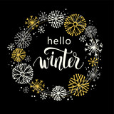 Winter lettering design on snow background with hand drawn snowflake frame. - 174802661