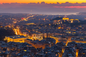 Panoramic view of Athens from the hill Likawitos at sunset, Greece