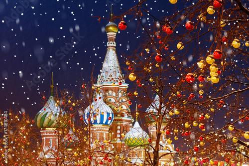 Bożenarodzeniowa dekoracja plac czerwony w Moskwa
