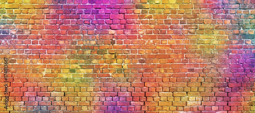 Foto Spatwand Graffiti painted brick wall, abstract background of different colors