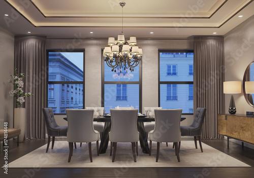 New York inspired dining room at night