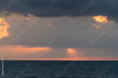 Foto op Canvas Nachtblauw sea landscape with dramatic sea sunset over the Black sea