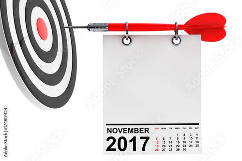 Calendar November 2017 with target. 3d Rendering Poster