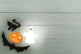 Lower left corner frame of halloween paper silhouettes - 174818070