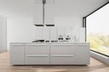 Modern bright white fitted kitchen - 174818076