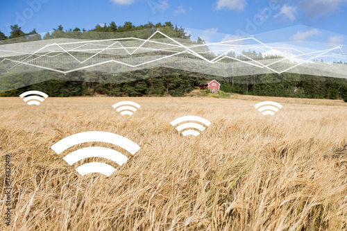 A field of wheat with symbols of wireless data exchange. Digital technologies in agriculture. Smart farming concept